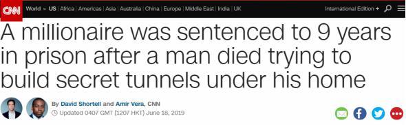 《百万富翁为防导弹雇人在家挖隧道 雇工意外死亡导致其被判 9 年监禁》