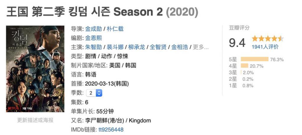《王国 第二季》上线两小时,评分9.4