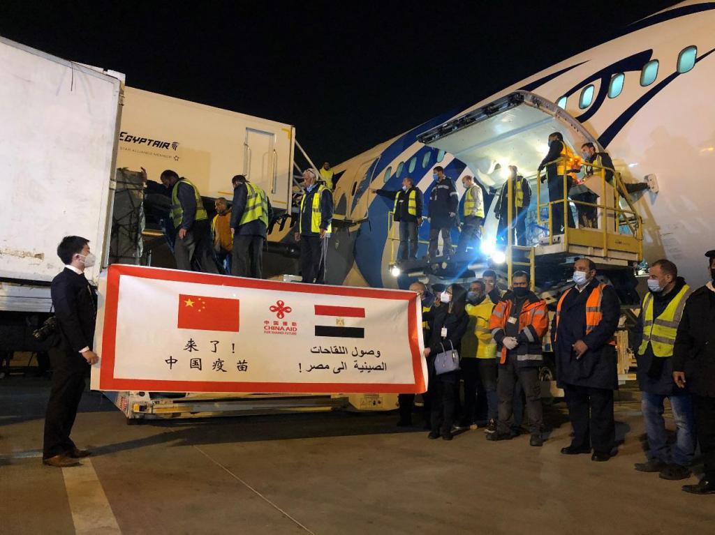 中国援助埃及新冠疫苗运抵开罗
