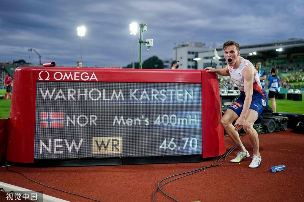 打破世界纪录!男子 400 米栏挪威名将摘金